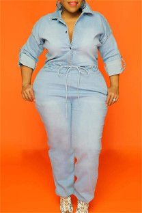 Baby Blue Fashion Casual Chains Backless Turndown Collar Plus Size Jumpsuits