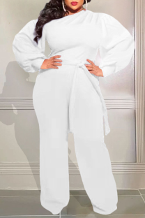White Casual Solid Split Joint Off the Shoulder Plus Size Jumpsuits