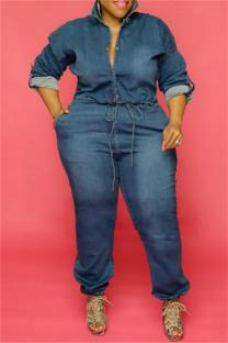 Dark Blue Fashion Casual Chains Backless Turndown Collar Plus Size Jumpsuits