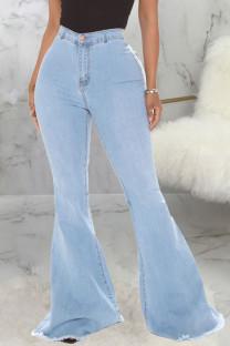 Baby Blue Fashion Street Solid High Waist Denim Jeans