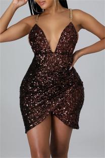 Burgundy Sexy Patchwork Sequins Chains Backless V Neck Sling Dress