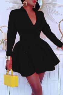 Black Casual Solid Split Joint Turndown Collar Cake Skirt Dresses