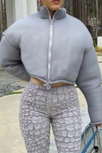 Grey Fashion Casual Solid Cardigan Zipper Collar Outerwear