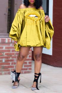 Yellow Street Print Split Joint Off the Shoulder Lantern Dress Dresses