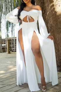 White Sexy Solid Hollowed Out Off the Shoulder Irregular Dress Dresses