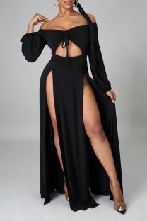Black Sexy Solid Hollowed Out Off the Shoulder Irregular Dress Dresses
