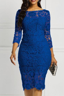 Colorful Blue Sexy Solid Lace O Neck Irregular Dress Dresses