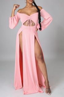 Pink Sexy Solid Hollowed Out Off the Shoulder Irregular Dress Dresses