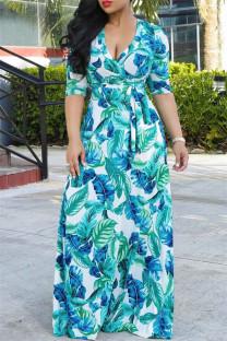 Light Blue Fashion Casual Print Bandage V Neck Long Sleeve Dresses
