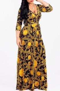 Gold Fashion Casual Print Bandage V Neck Long Sleeve Dresses