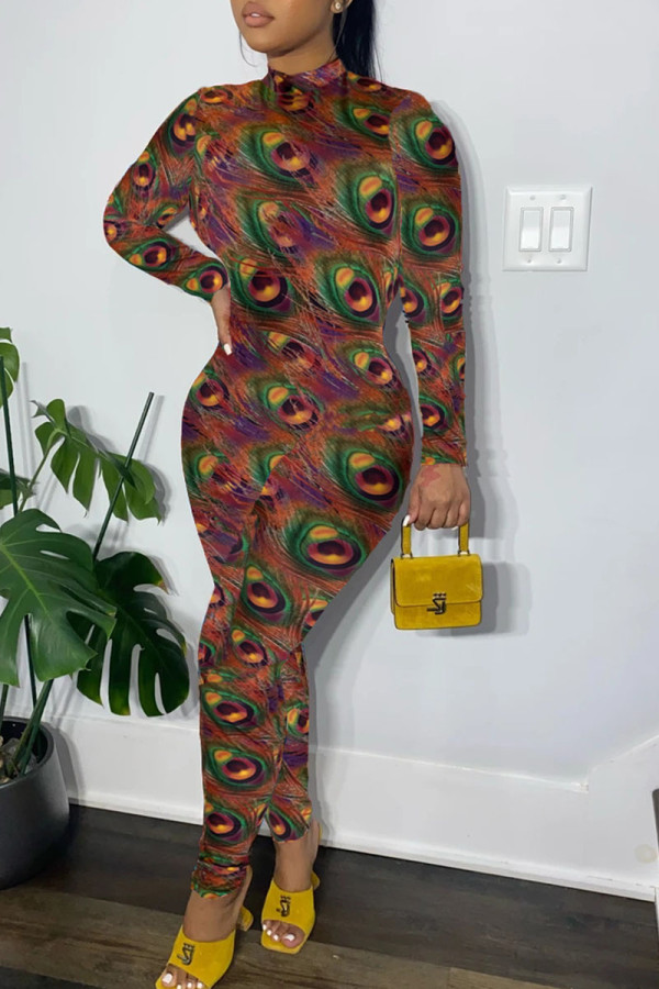 Colour Sexy Print Split Joint O Neck Regular Jumpsuits