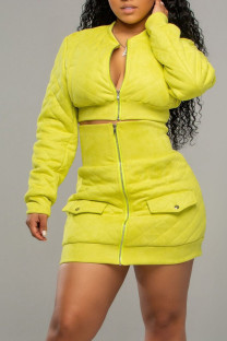 Yellow Sexy Solid Split Joint Zipper Collar Long Sleeve Two Pieces