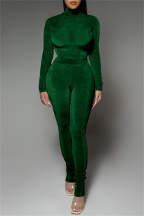 Green Fashion Casual Solid Fold Turtleneck Long Sleeve Two Pieces