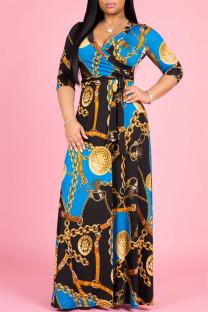 Blue Black Fashion Casual Print Bandage V Neck Long Sleeve Dresses