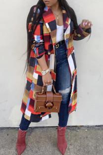 Red Fashion Casual Print Cardigan Turndown Collar Outerwear