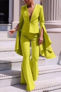 Yellow Fashion Irregular Large Sleeve Flare Pants Two Piece Suit