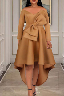 Khaki Elegant Solid Split Joint With Bow V Neck Evening Dress Dresses