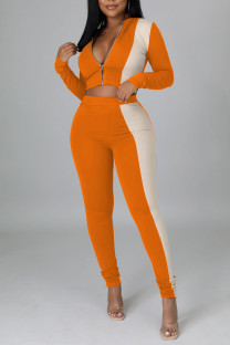 Tangerine Red Casual Solid Split Joint Zipper Collar Long Sleeve Two Pieces