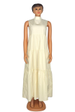 Khaki Casual Solid Flounce Half A Turtleneck Cake Skirt Plus Size Dresses