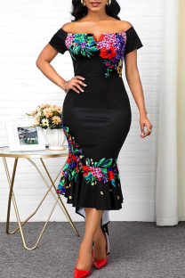 Black Sexy Print Split Joint Off the Shoulder Trumpet Mermaid Dresses