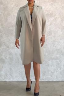 Khaki Fashion Casual Solid Cardigan Turndown Collar Plus Size Overcoat