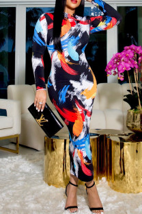 Colour Sexy Print Split Joint Half A Turtleneck One Step Skirt Dresses