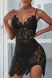 Black Sexy Solid Hollowed Out See-through Backless V Neck Sling Dress