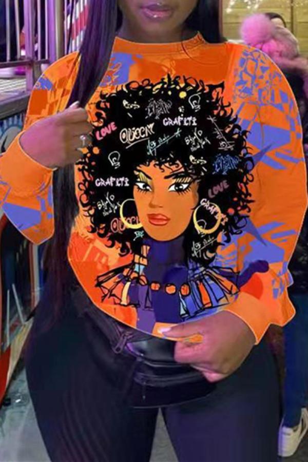 Orange Fashion Casual Print Basic O Neck Plus Size Tops