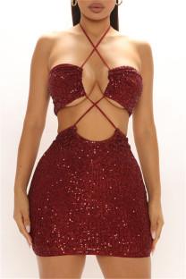 Burgundy Fashion Sexy Sequins Backless Halter Sleeveless Dress
