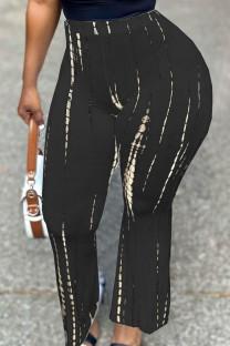 Black Fashion Casual Print Basic Regular High Waist Trousers