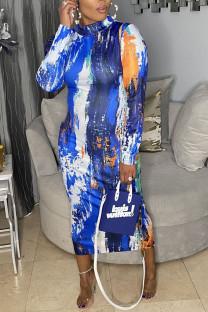 Blue Casual Print Split Joint Half A Turtleneck One Step Skirt Dresses