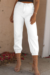 White Fashion Casual Solid Basic High Waist Regular Denim Jeans