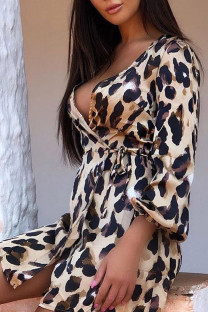 Leopard Print Sexy Print Leopard Split Joint Frenulum V Neck Straight Dresses
