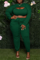 Green Sexy Casual Solid Hollowed Out O Neck Plus Size Three-piece Set