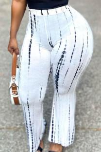White Fashion Casual Print Basic Regular High Waist Trousers