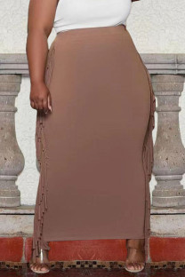 Champagne Casual Solid Tassel Split Joint Plus Size