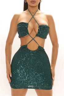 Green Fashion Sexy Sequins Backless Halter Sleeveless Dress