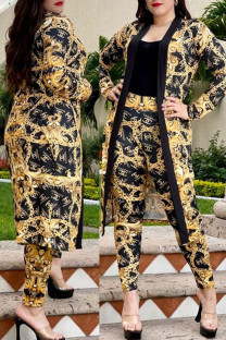 Golden Yellow Fashion Vintage Print Split Joint Long Sleeve Two Pieces
