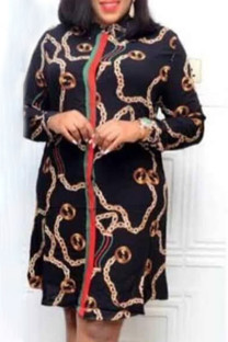 Black Fashion Elegant Print Split Joint Turndown Collar A Line Dresses