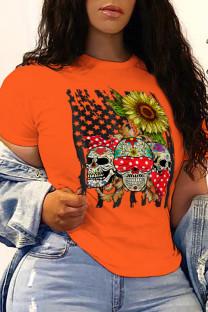 Orange Street Party Print Split Joint O Neck T-Shirts