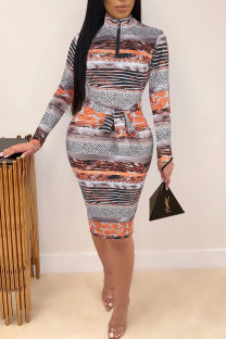 Yellow Brown Casual Print Split Joint With Belt Zipper Collar One Step Skirt Dresses