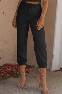 Black Fashion Casual Solid Basic High Waist Regular Denim Jeans