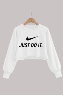 White Fashion Casual Print Split Joint O Neck Tops