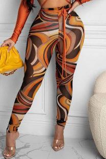 Black Yellow Fashion Sexy Casual Print See-through Regular High Waist Pencil Trousers