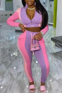 Pink Fashion Street Print Split Joint Zipper Collar Long Sleeve Two Pieces