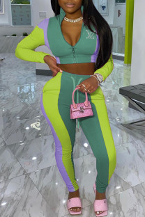 Green Fashion Street Print Split Joint Zipper Collar Long Sleeve Two Pieces