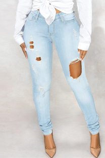 Baby Blue Fashion Casual Solid Ripped High Waist Regular Denim Jeans