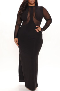 Black Sexy Solid Split Joint See-through O Neck Evening Dress Dresses