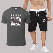 Dark Gray Fashion Sportswear Print Split Joint O Neck Short Sleeve Two Pieces