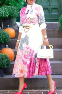 Pink Elegant Print Bandage Split Joint Buckle Fold O Neck Long Sleeve Dresses